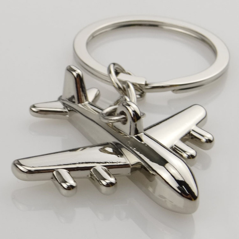 Popular 1 Piece Keyring Mini Air Plane Metal Alloy Keychains Creative Gift Keyfob
