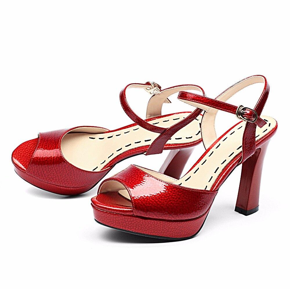 Cm Rojo La Tacones Hebilla Arden Correa Verano Gruesos Toe 2018 white Plata Furtado Red Zapatos Partido Del Boda Sexy Plataforma Peep De 10 wAnvnaxO