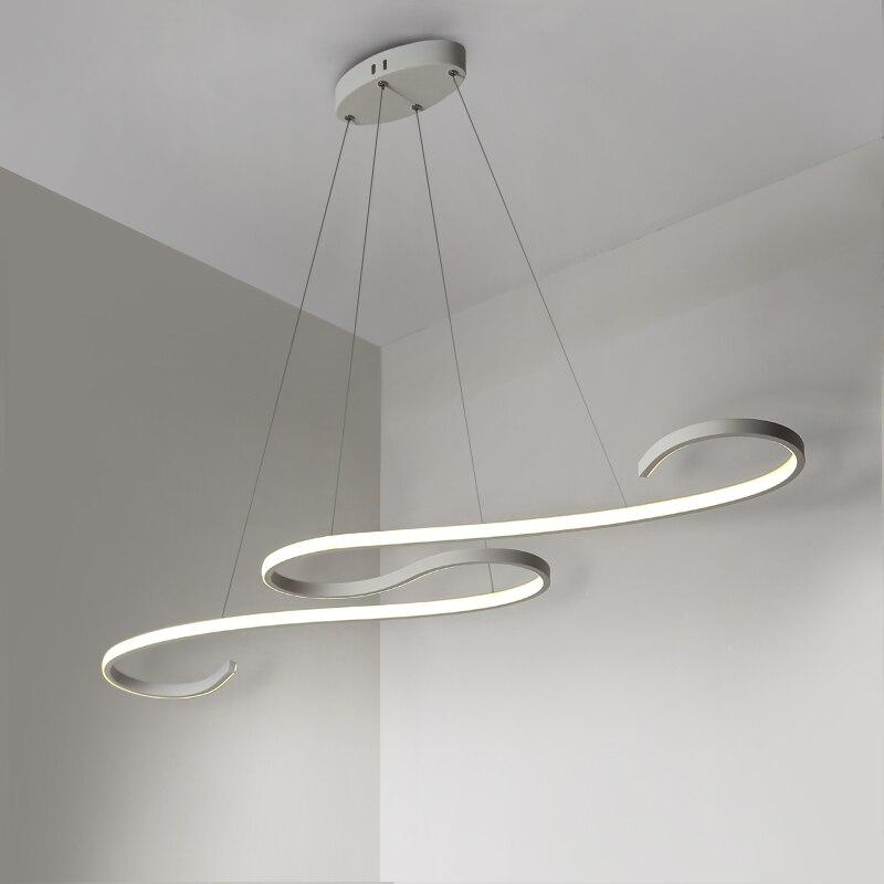 Современные светодиодные подвесные светильники черного/белого цвета для столовой, кухни, бара, акриловые подвесные светильники - 6