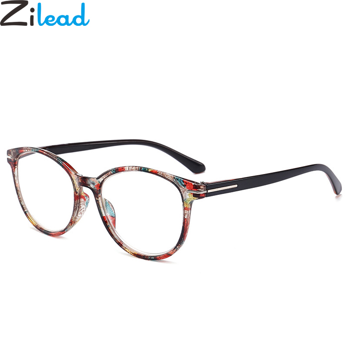 Zilead Urltra Light Reading Glasses Retro Round Floral Presbyopia Eyeglasses Myopic Lens Frame oculos de grau