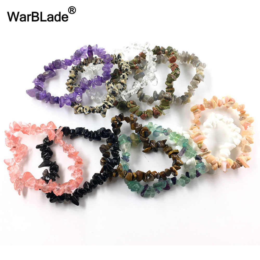 WarBLade Natural Colorful Gem Stone Bracelet Chip beads Nuggets Shell Crystal Coral Quartz Bracelets Bangles For Women Jewelry