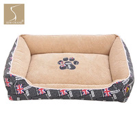 SewCrane Pet Bed Union Jack UK Flag British Dog Bed Puppy Nest Cat Sleeping Basket with Removable Washable Covers