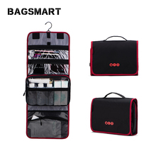 BAGSMART Hanging Travel Organizer Cosmetic Toiletry Bag Portable  Make up  Case for Women Men  with Hanging Hook for vacation new travel men organizer cosmetic bags daily essential portable hook make up pouch brand multifunctional woman toiletry bag case