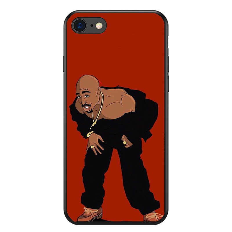 2Pac Makaveli Tupac Amaru Shakur Soft silicone Phone Cover Case For iPhone  5 5S SE 6 6S 6Plus 6S Plus 7 7Plus 8 8Plus X XS Max