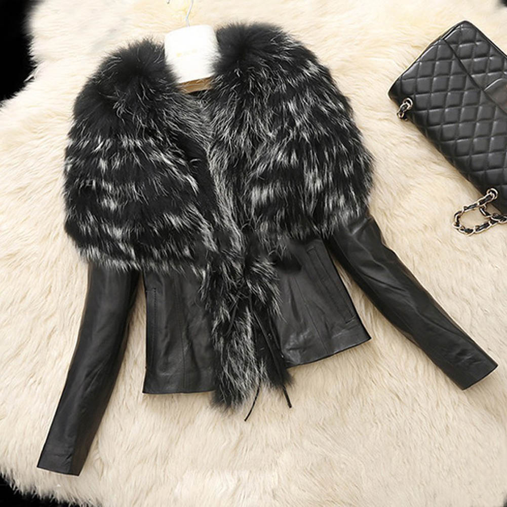 S-XL Women Faux Fur PU leather Jackets and Coat Womens Autumn Winter Fur Jackets Long raccoon fur Collar Coats
