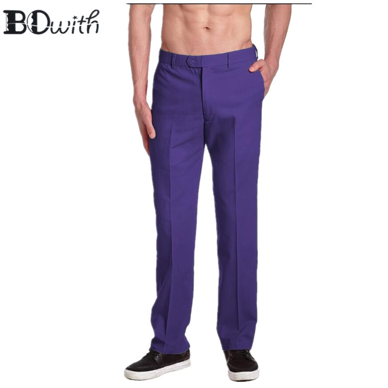 Purple Men's Slim Fit suit Trousers Casual Wedding Straight Male Pants Flat Front Dress Pants For Holiday Party