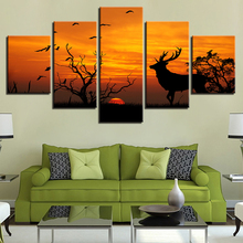 Wall Art Canvas Painting Pictures For Room Home Decorative 5 Panel Forest Animal Deer Sunset Silhouette Modular