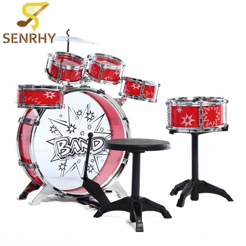 Kids Junior Drum Kit Music Set Children Kids Junior Drum Set Drums Kit Percussion Musical Instrument Six drum Belt Stool longkeeper cool bone reta pineapple fruit hat female male snapback cap men women hip hop peaked baseball caps ca15