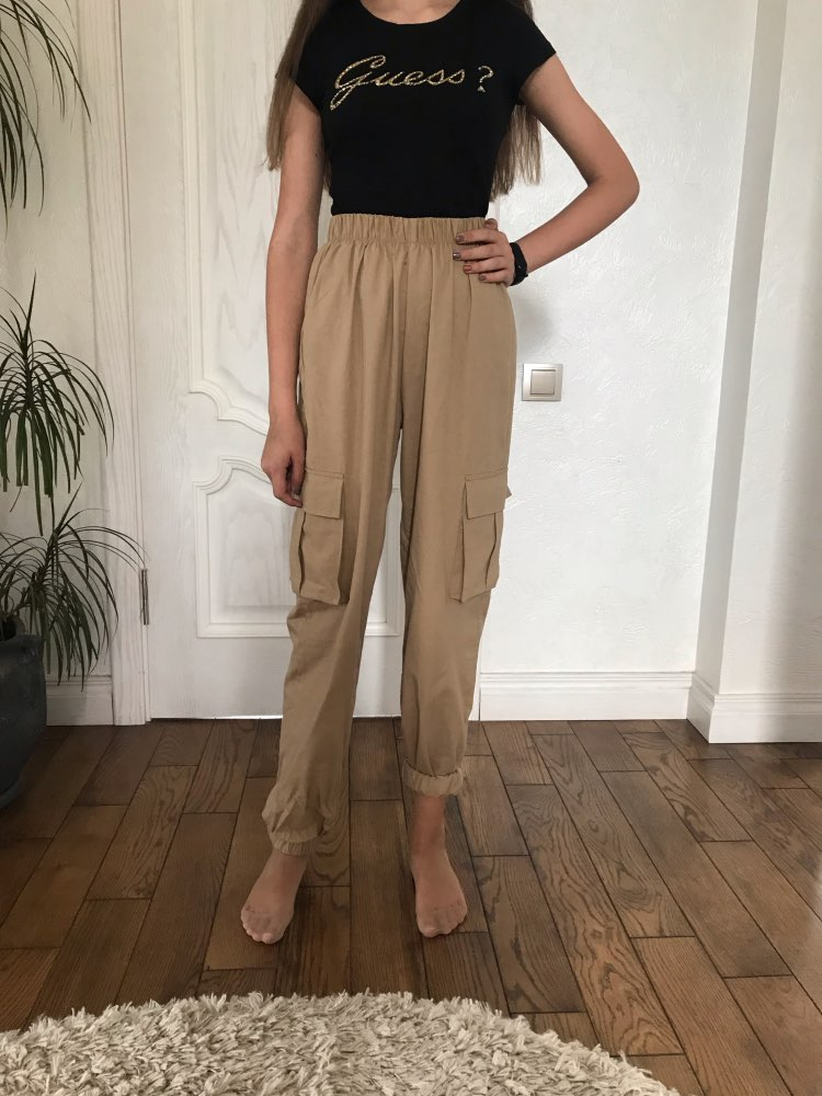 Vangull High Waist Pants Women Side Big Pocket Long Pants Spring Fashion Female Loose Cargo Pant Casual Sweatpants photo review