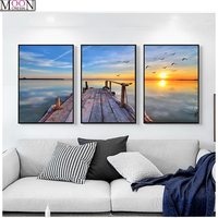 3D painting dusk wharf home decoration DIY paint triple cross stitch 5D diamond embroidery full pattern