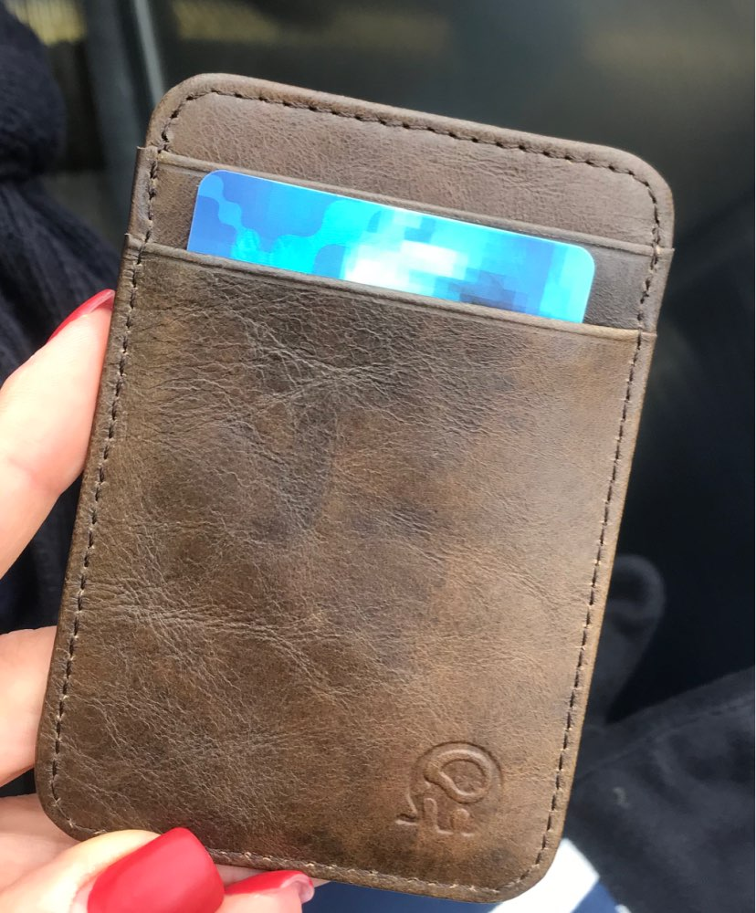 Wholesale 100% Real Leather Convenient ID Pocket Bank Credit Card Case Thin Card Wallet Men Cash Cards Pack Bus Card Holder NEW photo review