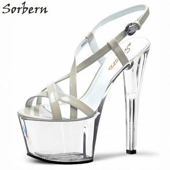 17 11 Sandalias Alto Sexy Mujer Verano Tacón Tamaño Cm Tacones De Zapatos Gruesos Sorbern Transparente sQBCrthdx