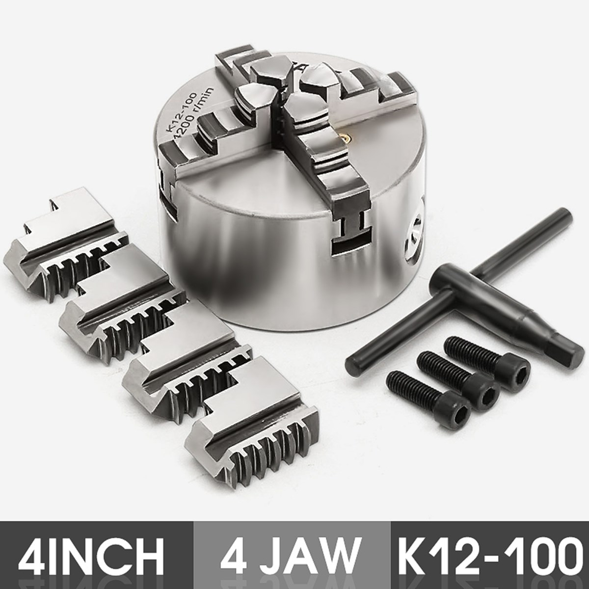 4 Jaw K12-100 4'' Lathe Chuck Self Centering Hardened Steel CNC Drilling Milling with Wrench and Screws Hardened Steel heat assisted machining of hardened steel aisi h13