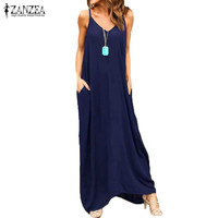 ZANZEA Women Summer Long Maxi Dress Spaghetti Strap Deep V Casual Solid Beach Party Sundress Vestido