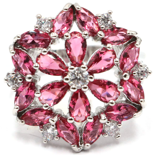 7.25# Luxury Pink Raspberry Rhodolite Garnet White CZ Woman's 925 Silver Ring 20x20mm