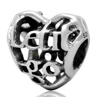 Let Go Openwork Heart 100% 925 Sterling Silver Charm Beads Fits European Charms Bracelet S