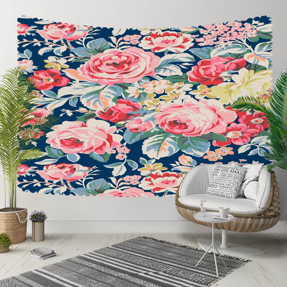Else Blue Floor Yellow Red Roses Yellow Flowers 3D Print Decorative Hippi Bohemian Wall Hanging Landscape Tapestry Wall Art