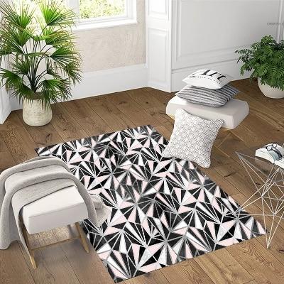 Else Black Pink Fracture Geometric Scandinavian 3d Print Non Slip Microfiber Living Room Decorative Modern Washable Area Rug Mat