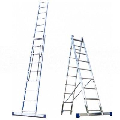 Ladder-stepladder KRATON 2-section 252/420 cm, 8 kg 2x9 st. stepladder steel kraton painted with aluminum steps 60cm 3 95kg 3st