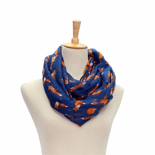 Women Voile Scarf Ladies Fox Pattern Print Wrap Shawl Female Ring Silk Infinity Scarves Loop Echarpes Femininas 2017 OR