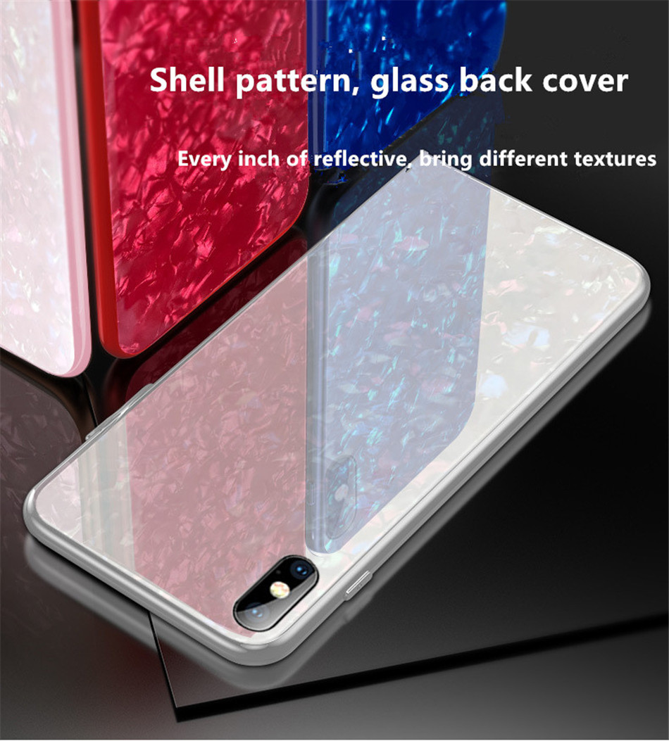 Luxury Tempered Glass Geometric Case For iPhone X 7 8 Plus Soft TPU Frame Art Print Patterned  ProtectiveCover For iPhoneX 10 (3)
