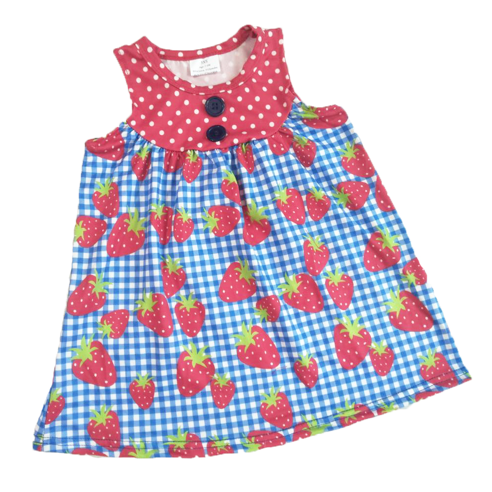 Childrens boutique girl strawberry blue plaid print dress sleeveless round neck designChildrens boutique girl strawberry blue plaid print dress sleeveless round neck design