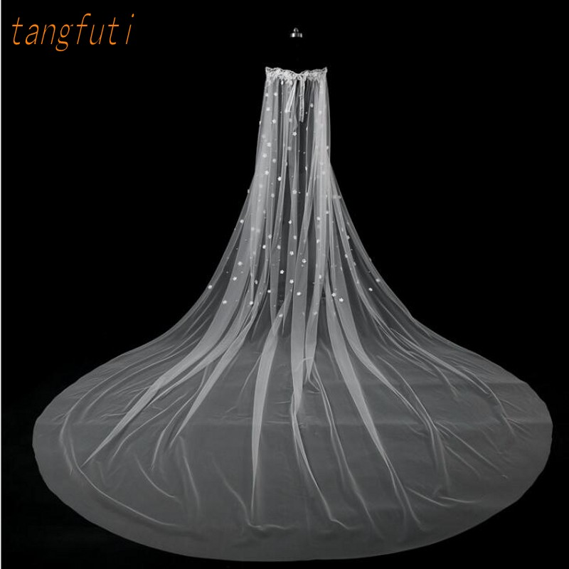 3 m Cathedral Bridal Veils Wedding Veil Long Bride Appliques Bridal Veil 3 Meters 2018 New Wedding Accessories