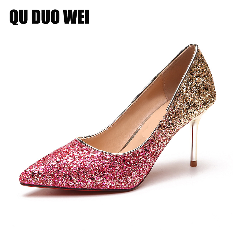 bling sequined cloth women sexy pumps pointed toe slip on glitter high heels party shoes woman night club pink golden pumps