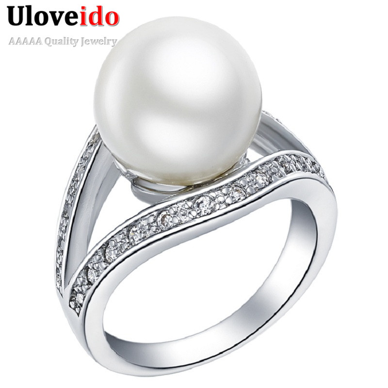 uloveido black red white simulated pearl engagement ring black ball rings for women anel de formatura - Pearl Wedding Ring