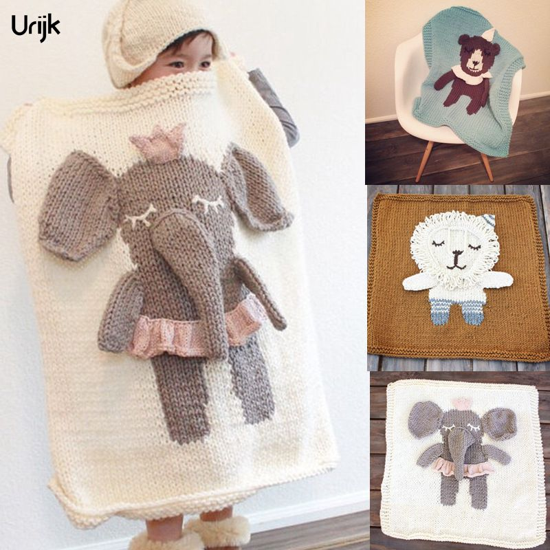Urijk 1PC 2017 3D Elephant Shaped Thread Blanket for Children Soft Knitted Blankets for Bed Personalized Winter Warm Christmas
