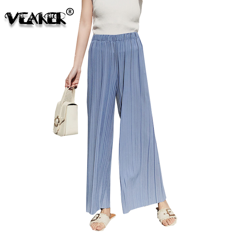 2018 Spring Summer New Women   Wide     Leg     Pants   Candy Colors High Waist Slim Look Wrinkle Chiffon Loose   Pants     Wide     Leg   Long Trousers
