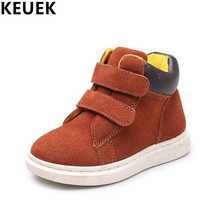 Spring Autumn Children Ankle boots Hook & Loop Genuine Leather Martin Bays Girls Casual shoes Kids botas Riding 041
