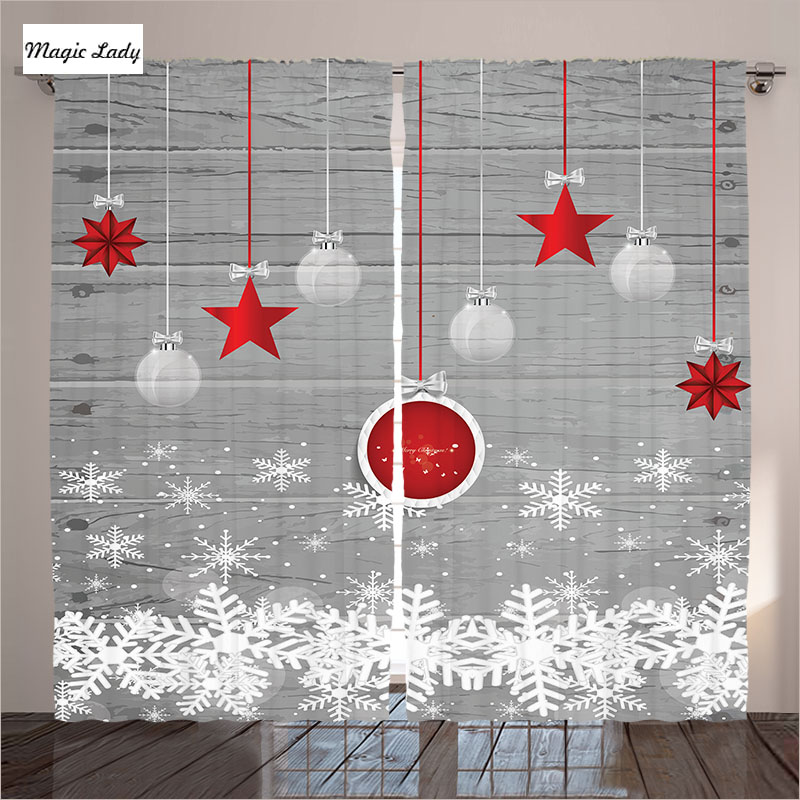 Curtains Grey Living Room Bedroom Holiday Star Ornaments