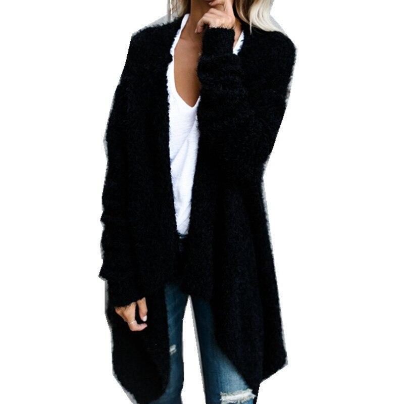 Women Autumn Winter Long Sleeve Cardigan Fashion Loose Knitted Sweater Irregular Hemline Outwear Warm Open Stitch Jacket