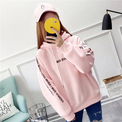 MoneRffi Letter Hoodies Women Printed Fashion Pullovers 2018 Krean Style Oversized Sweatshirts Femme Loose Casual Streetwear 4