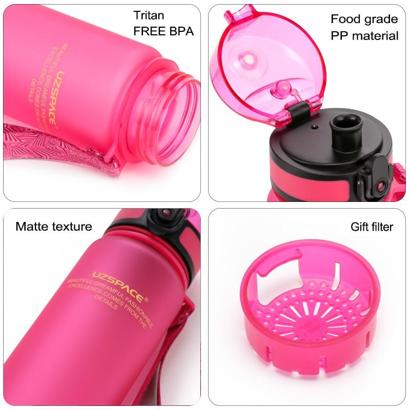 Image 5 - UZSPACE Sport Water Bottles Tritan Shaker Outdoor Travel Camping Hiking School Plastic Drink My Bottle for Water 500Ml/650ml/1L-in Water Bottles from Home & Garden