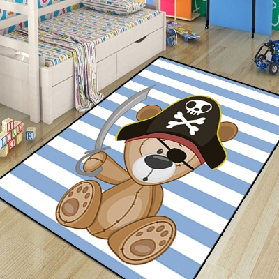 Else Blue Pirate Sailor Cute Bear Lines Boys 3d Print Non Slip Microfiber Children Kids Room Decorative Area Rug Kids  Mat