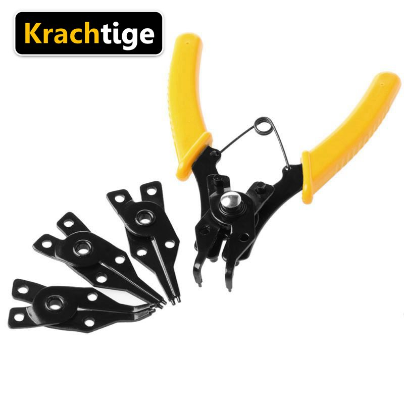 Krachtige 4 in1 Circlip Pliers Set DIY Snap Ring Combination Retaining Clip Jewelry Pliers Internal External Ring Remover pj04 7 in1 large size steel pliers silver