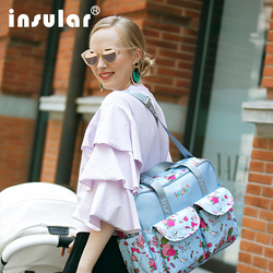 insular Multicolored baby diaper bag Large-capacity organizer fashionable mother maternity bag baby stroller nappy bag Mommy bag