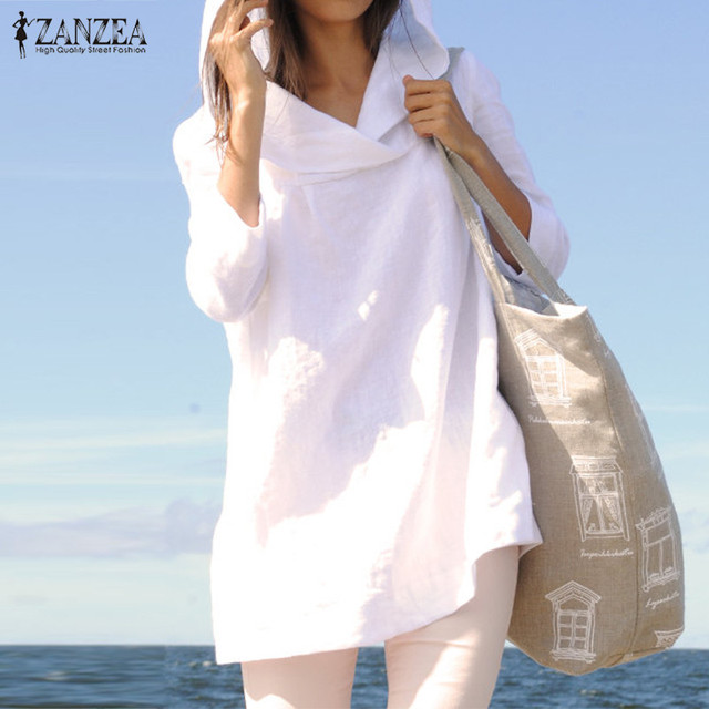 708e0237b8a94 ZANZEA Spring Autumn Women Casual Cotton Long Sleeve Tops Hooded Loose  Solid Blouses Simple Shirts Plus