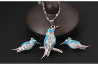s925 sterling silver bird pendant pearl bird national wind kingfisher necklace female clavicle >girls jewelry sets Free shipping