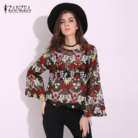 ZANZEA Women 2017 Vintage Floral Embroidery Blouses Tops Sexy See Through Mesh Blusas Shirts Casaul Flare