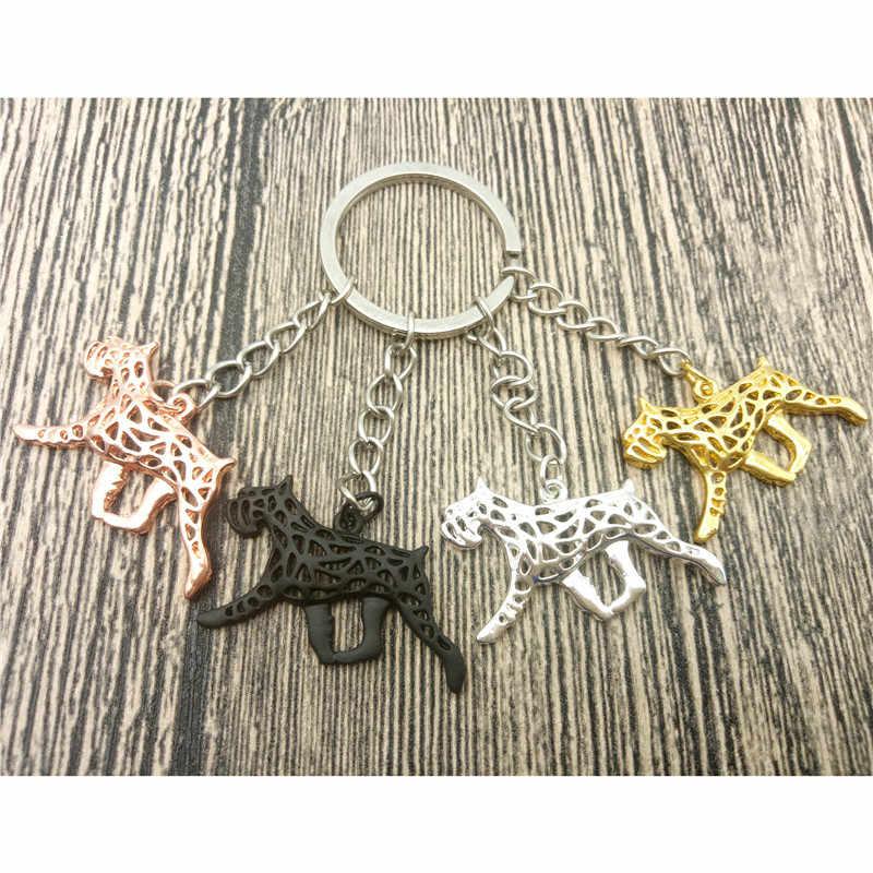 Schnauzer Key Chains Fashion Pet Dog Đồ Trang Sức Schnauzer Xe Keychain Bag Keyring Cho Phụ Nữ Người Đàn Ông