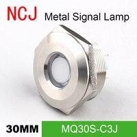 NCJ 30mm De Metal CONDUZIU a lâmpada Indicadora de Sinal piloto luz de Sinalização de Advertência barco painel de instrumentos do painel do carro Duas cores 3 V -220 V