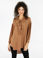 Long blouse with ruffle