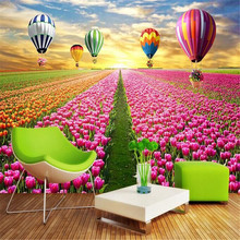 Tulip flower sea 3D TV background wall background painting factory wholesale wallpaper mural custom photo wall free shipping large mural sofa tv background wall custom european style painting wallpaper tulip mural