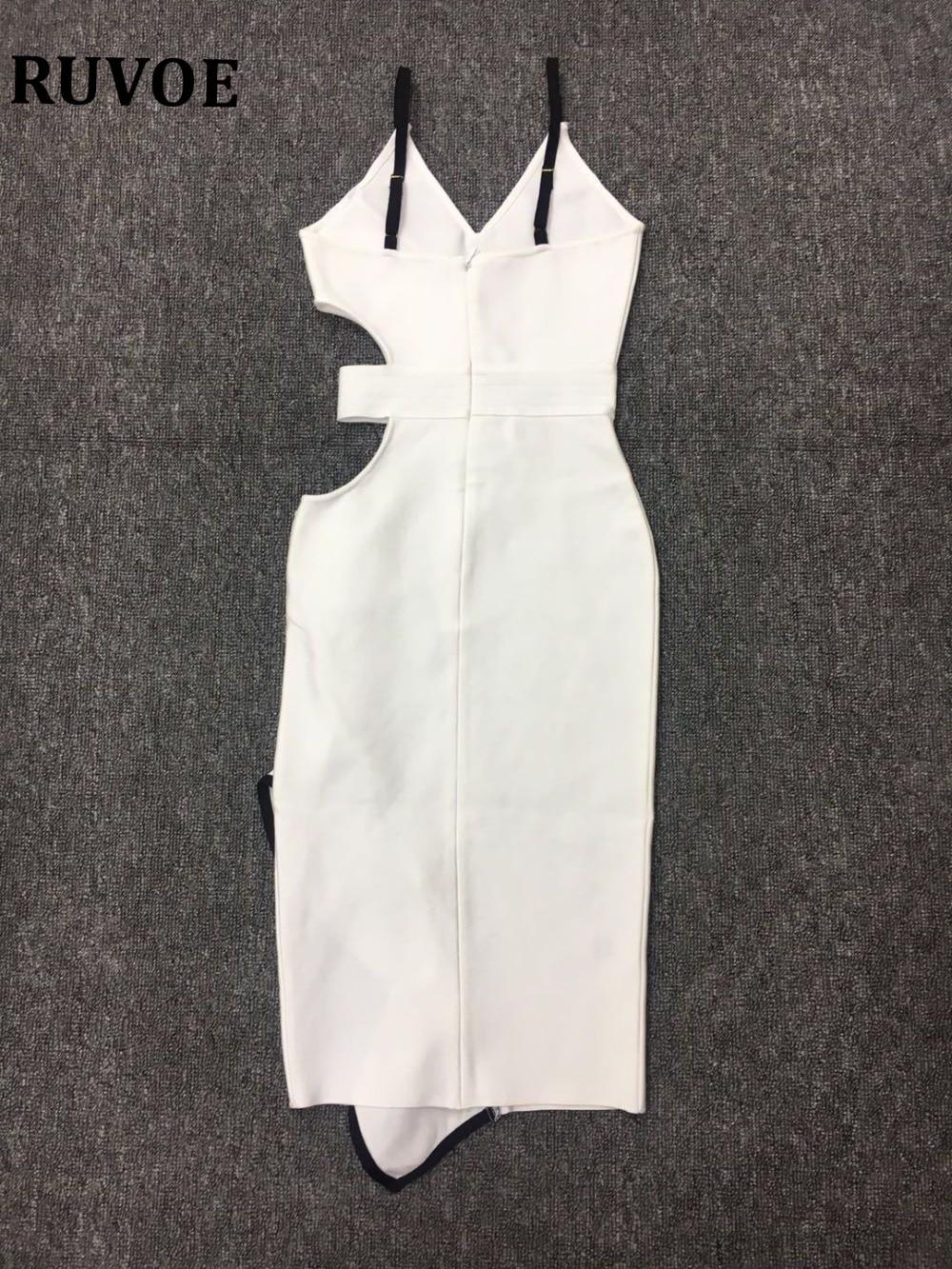 Sur Sortir Nouveau Ty 7 V Femmes Profond Le Partie Col Fendue Volants À Devant Élégant En Pour D'été Robe Bandage Blanc HqHrTwx8