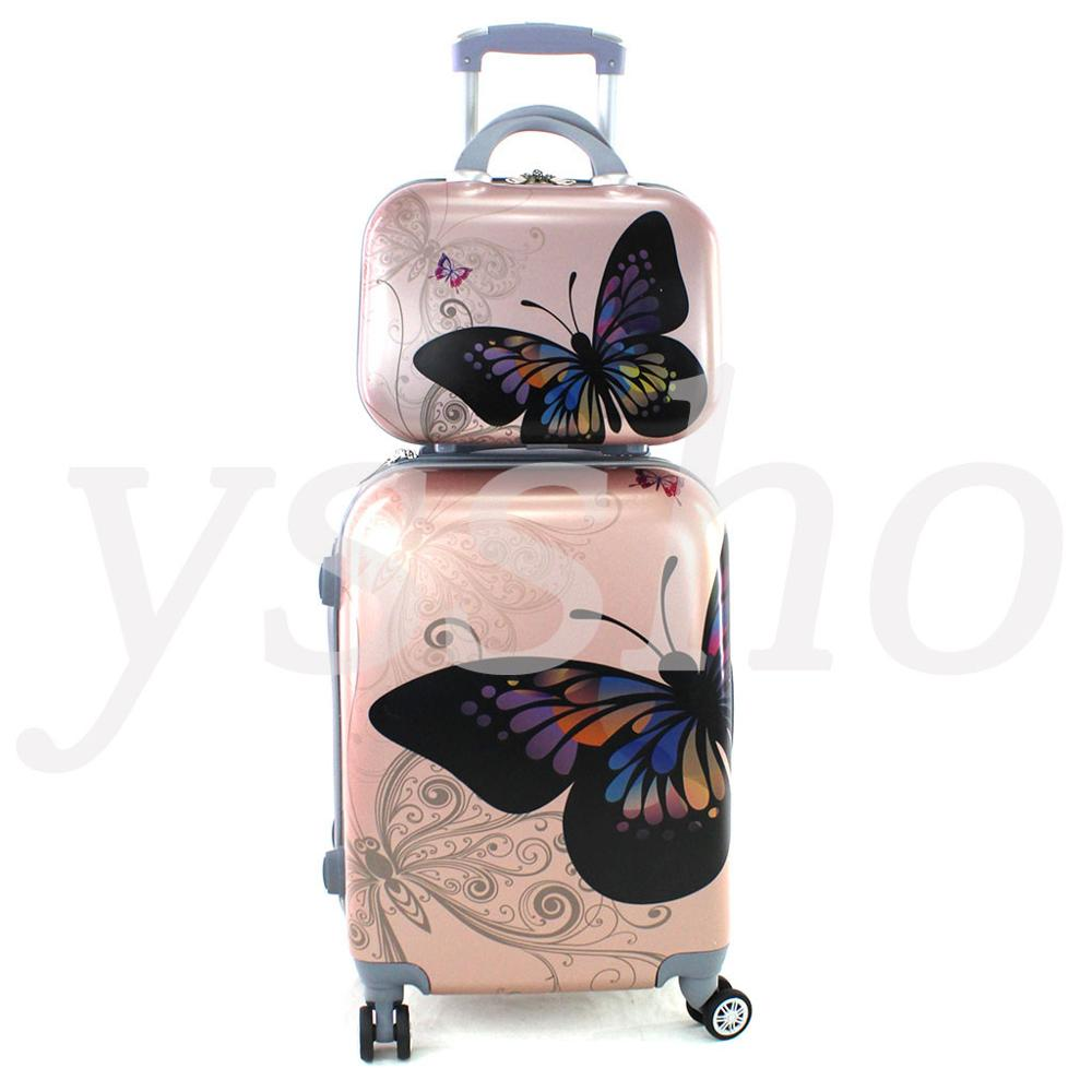 Cabin suitcase stamped butterflies 55cm rigid with cosmetic bag