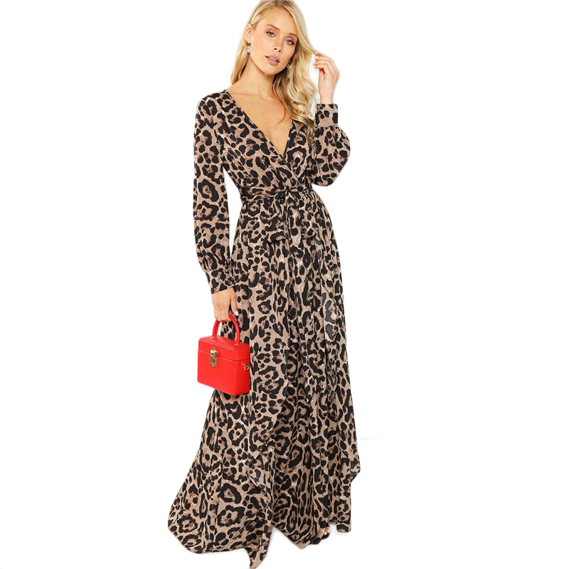 COLROVIE Knot Belted Deep V Neck Leopard Print Sexy Dress Women 2018 Autumn  Long Sleeve Party Dress Girl Elegant Maxi Dresses 2a35d5026