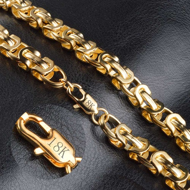 Customed  Men Neckalce Stainless Steel Silver Gold Color Byzantine Thin Chain Men's Necklaces,High Quality can dropshipIng